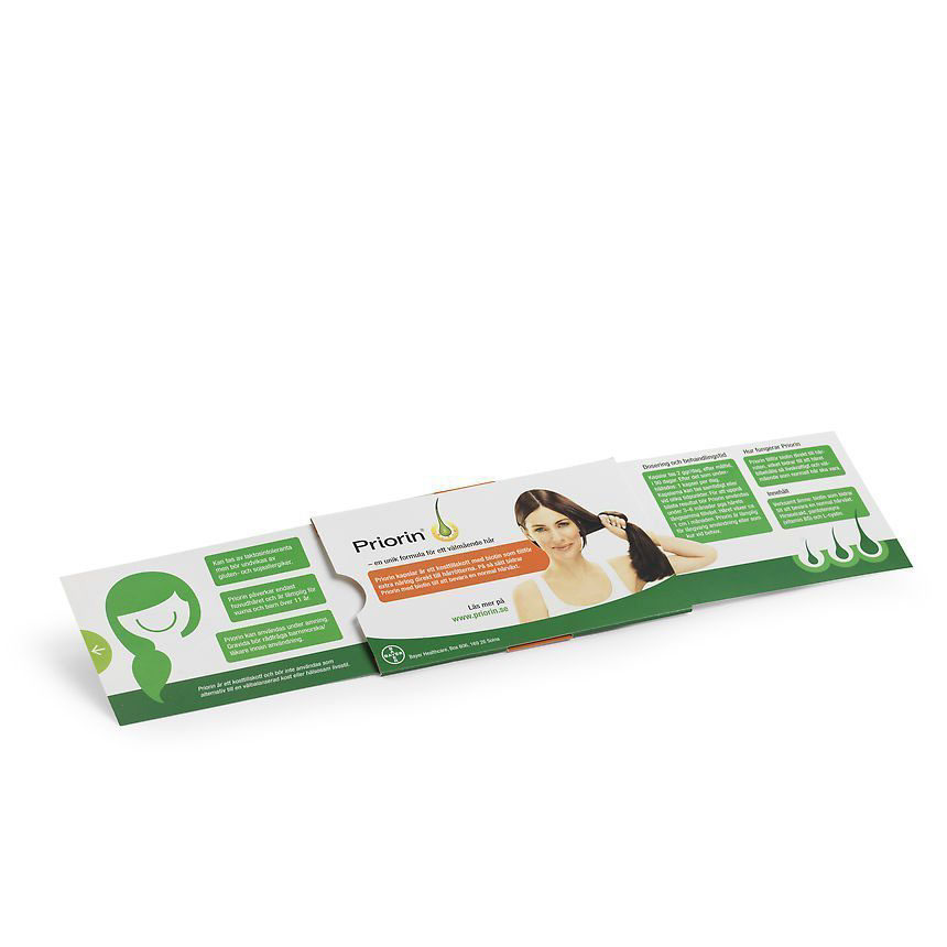 Priorin förpackning med information slidepack