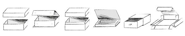 olika lådor